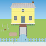 House. The big and beautiful real estate on sale, children's playground and green garden royalty free illustration