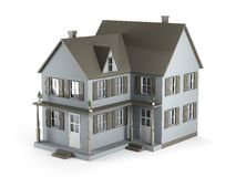 House. Two-storey house of gray color. 3D Graphics Royalty Free Stock Photography