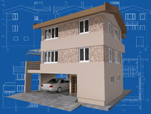 House. 3D isometric view of the residential house on architect drawing Stock Photography