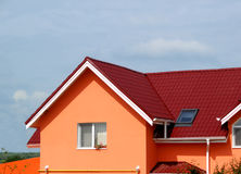 House. Here is an orange house with a special design Stock Photo