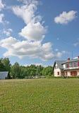 House. White house and blue sky (Latvia Stock Images