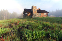 House. Abandoned farm house in spring,yellowstone national park stock images