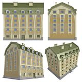 House. Four views of the 3D residential house over white isolated with clipping path Stock Photo