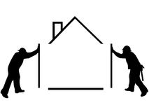House. Silhouette of man building a house Stock Photo