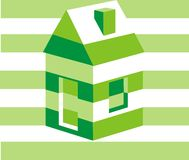 House. Ecological green house. Vector illustration Stock Image