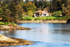 House. By Shuswap lake in Autumn,Salmon Arm,Canada Royalty Free Stock Image