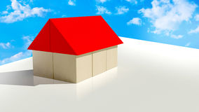 House. Made of wooden blocks and blue sky with clouds vector illustration