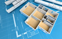 House. Over a blueprint; 3d render Royalty Free Stock Image