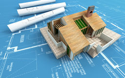 House. 3d render of a modern house on a blueprint Royalty Free Stock Photography