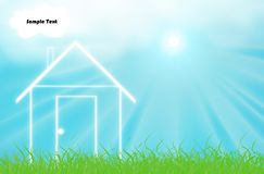 House. Clean energy house with sky and sun Royalty Free Illustration