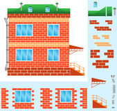 House. The brick house with windows and a porch, illustration Royalty Free Stock Images