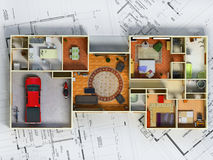 House. 3d detailed house over blueprints Royalty Free Stock Photos