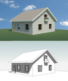 House. 3d render of a small house Royalty Free Stock Photo