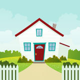 House. Illustration of a cartoon house inside garden Stock Images