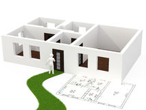 House. 3d person with house on white Stock Image