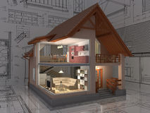 House. 3D isometric view of the cut residential house on architect drawing. Image with clipping path Royalty Free Stock Image