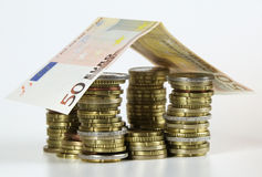 House. Built out of EUROS stock photos