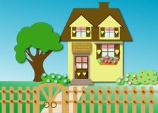 House. Country house in cartoon style illustration Royalty Free Stock Images