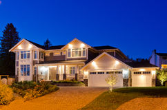 House. Luxury house at night in Vancouver, Canada Royalty Free Stock Photos