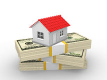 House. A house on money stack. Dollar. Real estate business concept. 3d render illustration Royalty Free Stock Photos