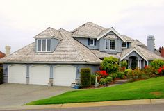 House. A luxury american wooden house the northwest Royalty Free Stock Photo