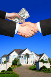 House. Beautiful house, hands and maoney Royalty Free Stock Photos
