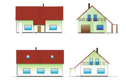 House. Green fictitious house drawing on white background Royalty Free Stock Photos
