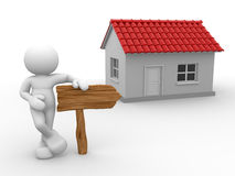 A house. 3d people - man, person with a house and arrow a wooden. Realestate Royalty Free Stock Images