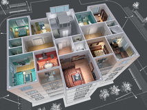 House. Cross-section of residential house. 3D image Royalty Free Stock Images