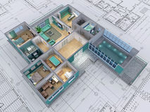 House. Cross-section of residential house. 3D image Royalty Free Stock Photos