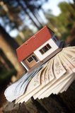 House. On euros in forest Royalty Free Stock Images