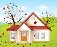 House. Illustration of a house in a beautiful nature Royalty Free Stock Image