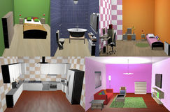 House. With living room, kitchen, bedroom and bathroom in 3d, is furnished Stock Photo