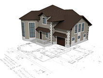 The house 3D image on the plan. The house 3D image on a background the plan Royalty Free Stock Photos