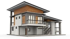 Free House 3d Modern Rendering On White Background. Stock Photography - 129908732