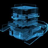 House 3D X-Ray Blue. Transparent Royalty Free Stock Image