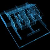 House 3D X-Ray Blue. Transparent Stock Photography