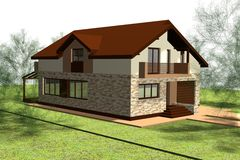 House 3D Render Stock Images