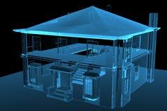 House 3D rendered blue. Transparent Stock Image