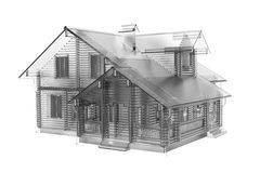 House 3D rendered white Royalty Free Stock Photo
