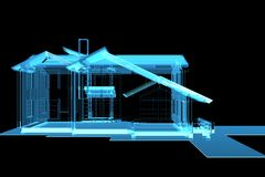 House 3D rendered xray blue. Transparent vector illustration