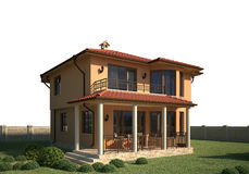 House 3d scene exterior Royalty Free Stock Images