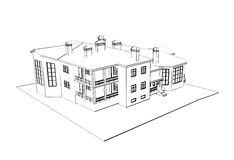 House: 3d  technical draw Royalty Free Stock Photo