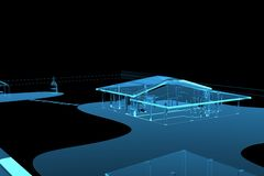 House (3D xray blue). House (3D xray blue transparent Royalty Free Stock Image