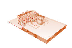 House (3D xray orange on white) Royalty Free Stock Photos