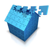 House. Made from puzzle (3D concept Royalty Free Stock Photos