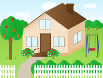 House. Vector illustration of a house with a garden Stock Illustration