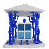 House. A house shape built of blue 3d figures Stock Image