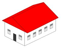 The house. House illustration with red roof, at white background Stock Photos