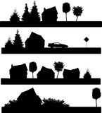 House. The silhouettes of the building, tree,car, traffic sign Royalty Free Stock Photos
